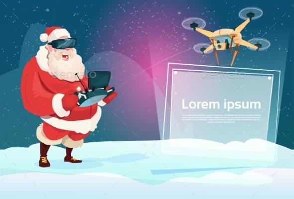 Santa Claus Wear Virtual Reality Digital Glasses - Christmas Seasons/Holidays