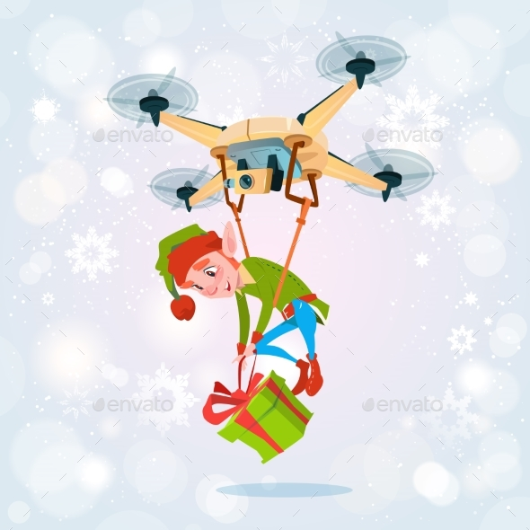 Drone Green Elf Delivery Present, Happy New Year - Christmas Seasons/Holidays
