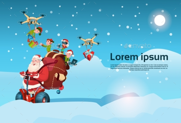 Santa Claus Ride Electric Segway Scooter, Elf - Christmas Seasons/Holidays