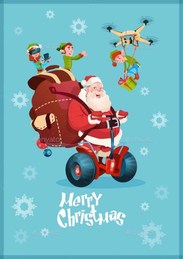 Santa Claus Ride Electric Segway, Elf Flying Drone - Christmas Seasons/Holidays