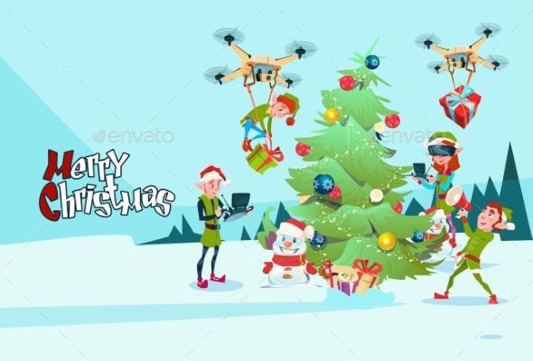 Green Elf Group Decoration Christmas Tree - Christmas Seasons/Holidays
