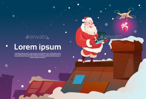 Santa Claus On Roof Hold Remove Controller Drone - Christmas Seasons/Holidays