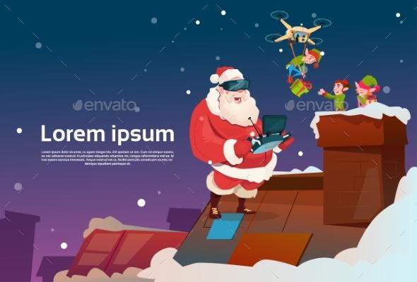 Santa Claus Wear Virtual Reality Glasses Elfs - Christmas Seasons/Holidays