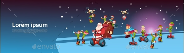 Santa Claus Ride Electric Segway Scooter, Elf - Christmas Seasons/Holidays