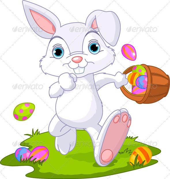 Easter. Bunny Hiding Eggs - Seasons/Holidays Conceptual