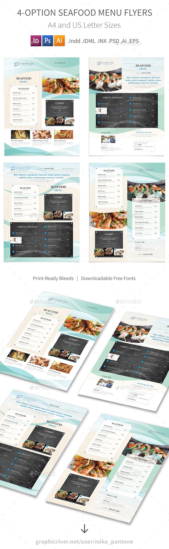Seafood Restaurant Menu Flyers 2 – 4 Options - Food Menus Print Templates