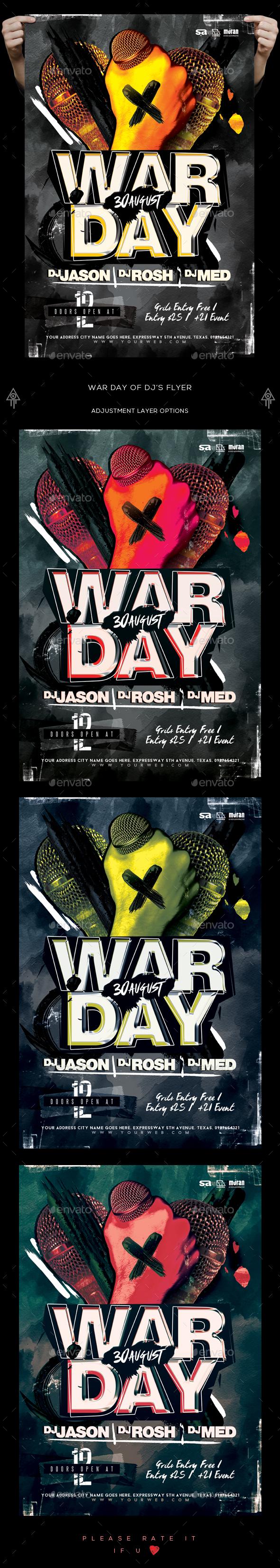War Day Of DJs Flyer - Clubs & Parties Events