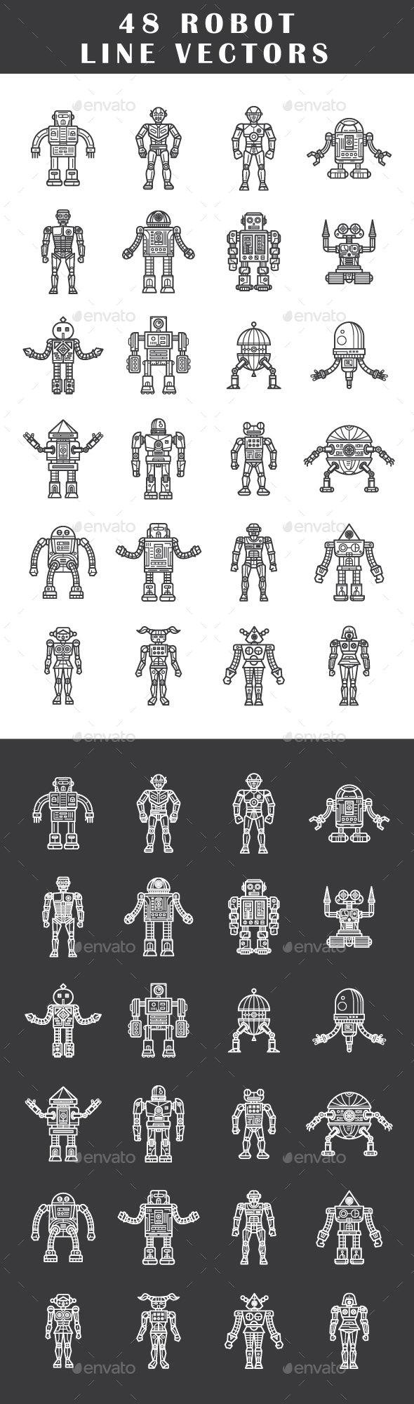 48 Robot Line Vectors - Decorative Symbols Decorative