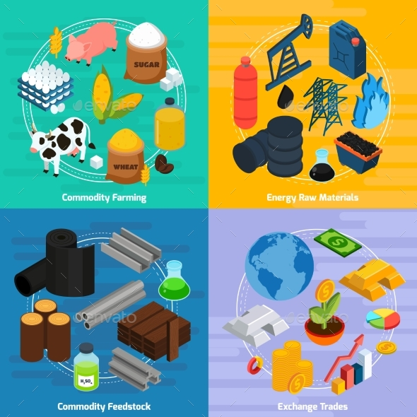Commodity Concept Icons Set - Man-made Objects Objects