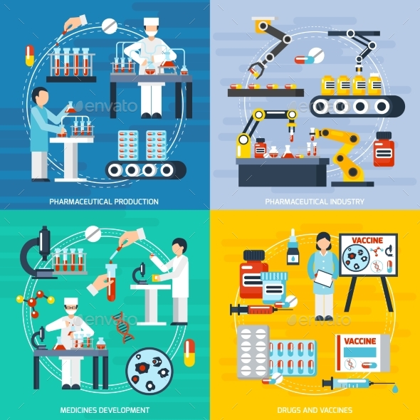 Pharmaceutical Production Concept Icons Set - Health/Medicine Conceptual