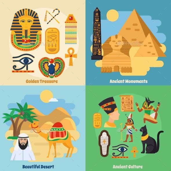 Egypt Concept Icons Set - Travel Conceptual