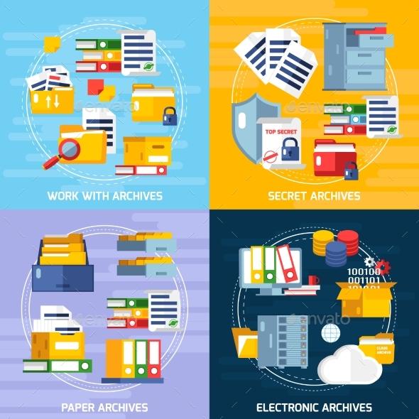 Archive Concept Icons Set - Technology Conceptual