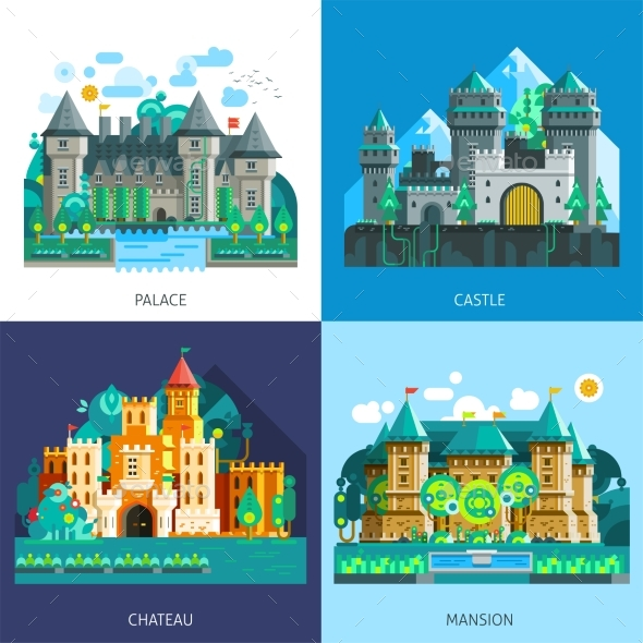 Medieval Castles Set - Abstract Conceptual