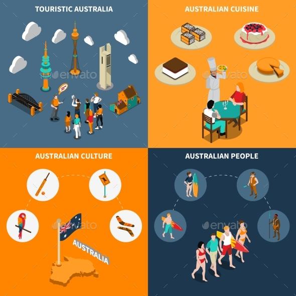 Australia Travel  4 Isometric Icons Square - Travel Conceptual