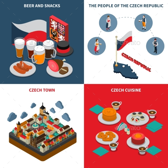 Czech Republic  4 Isometric Icons Square - Travel Conceptual