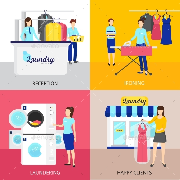 Laundry Concept Icons Set - Services Commercial / Shopping