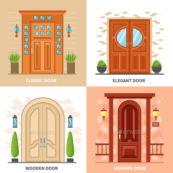 House Doors 2X2 Design Concept - Buildings Objects
