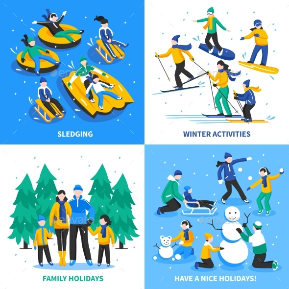 Winter Activity 2X2 Design Concept - People Characters