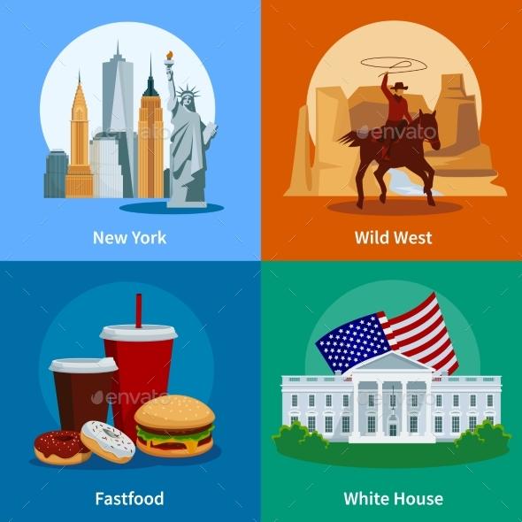 USA Flat 2X2 Icons Set - Travel Conceptual