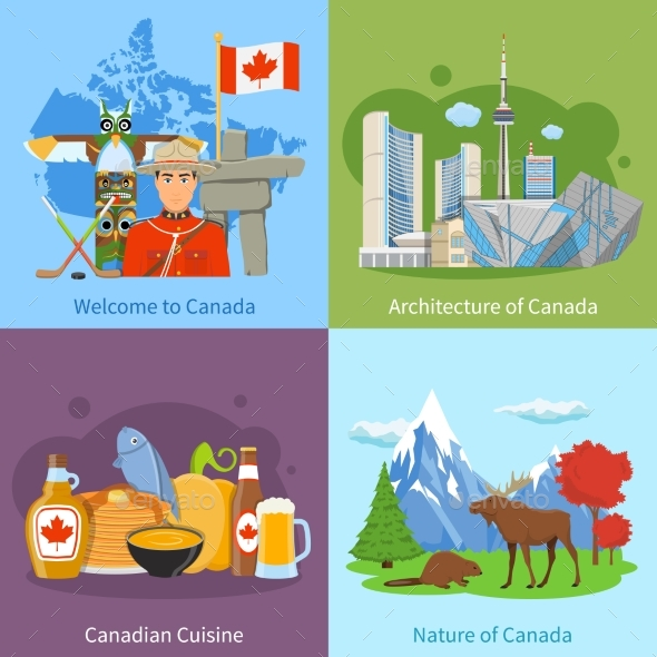 Canada Travel 4 Flat Icons Square - Travel Conceptual