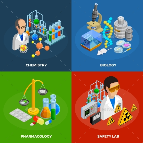 Science Concept Icons Set - People Characters