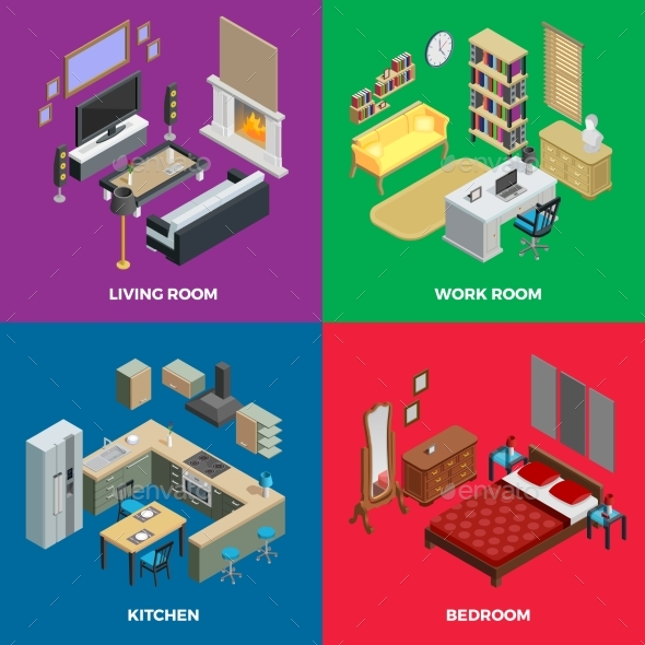 Interior Isometric Concept Icons Set - Man-made Objects Objects