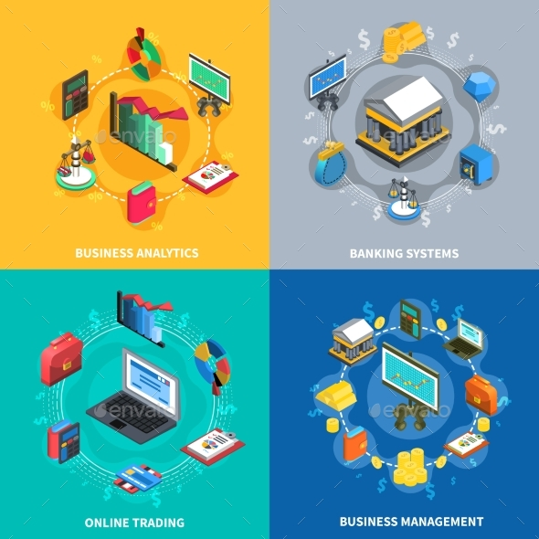 Financial Isometric Icons Square Composition - Business Conceptual