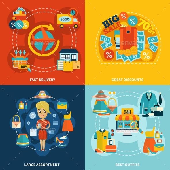 Go Shopping Online Square Composition - Business Conceptual