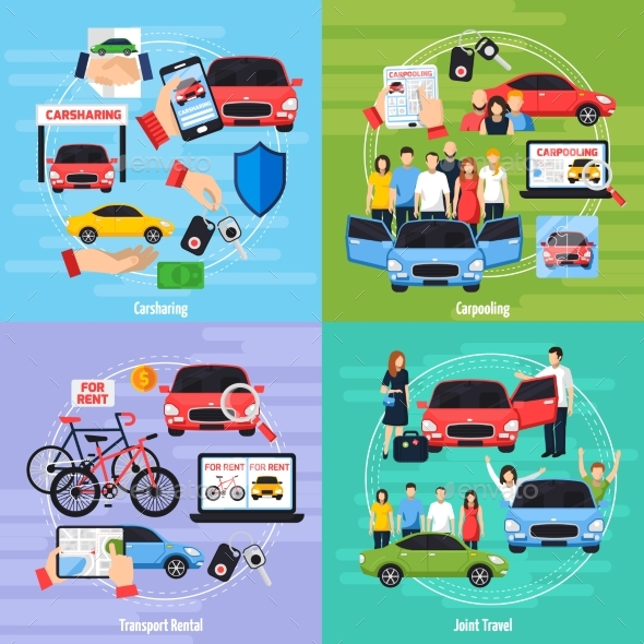 Carsharing Concept Icons Set - People Characters