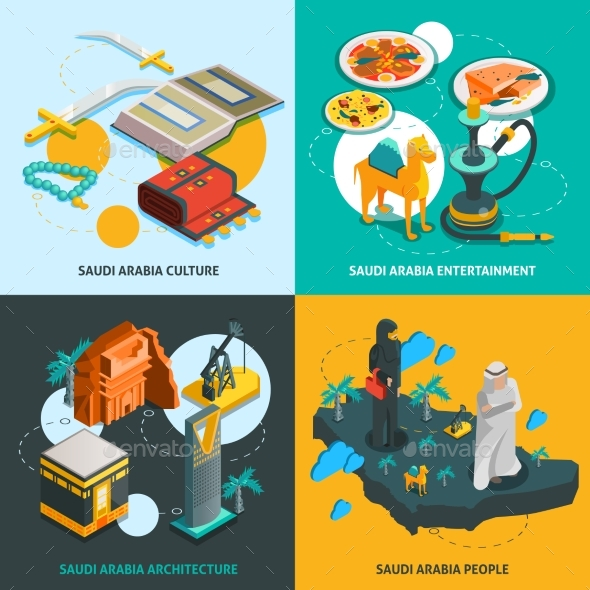 Saudi Arabia Touristic Isometric Concept - People Characters