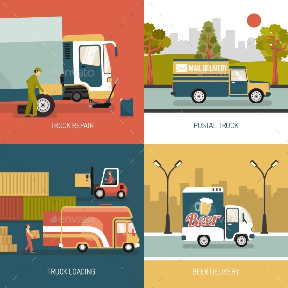 Delivery Trucks 2X2 Design Concept - Services Commercial / Shopping