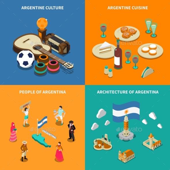 Argentina 4 Touristic Isometric Icons Square - Travel Conceptual