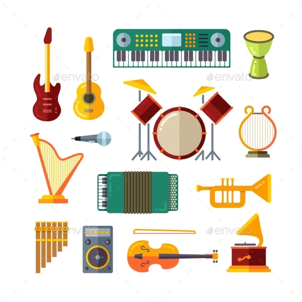 Music Instrument Flat Vector Icons - Objects Vectors