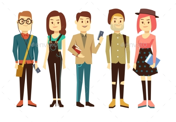 Teenagers, Students With Gadgets And Books Vector - People Characters