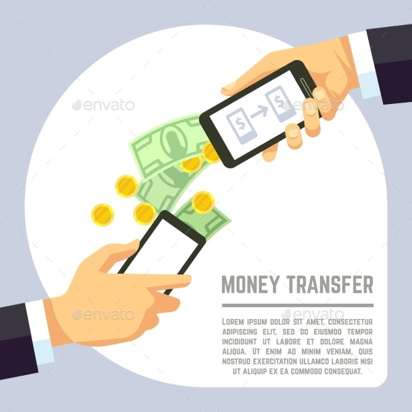 Sending And Receiving Money Wireless With Mobile - Miscellaneous Vectors