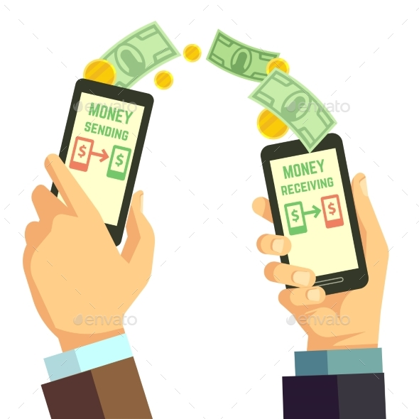 Wireless Sending Money With Smartphone Vector - Objects Vectors
