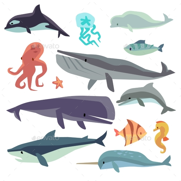 Sea Marine Fish And Animals Flat Vector Set - Animals Characters
