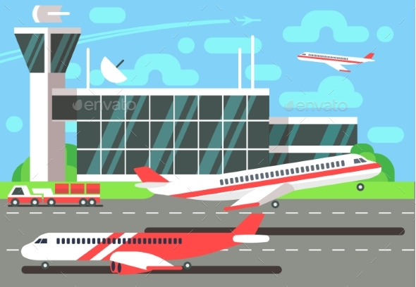Airport Flat Vector Illustration - Buildings Objects