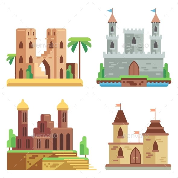 Castles And Fortresses Flat Vector Icons Set - Buildings Objects