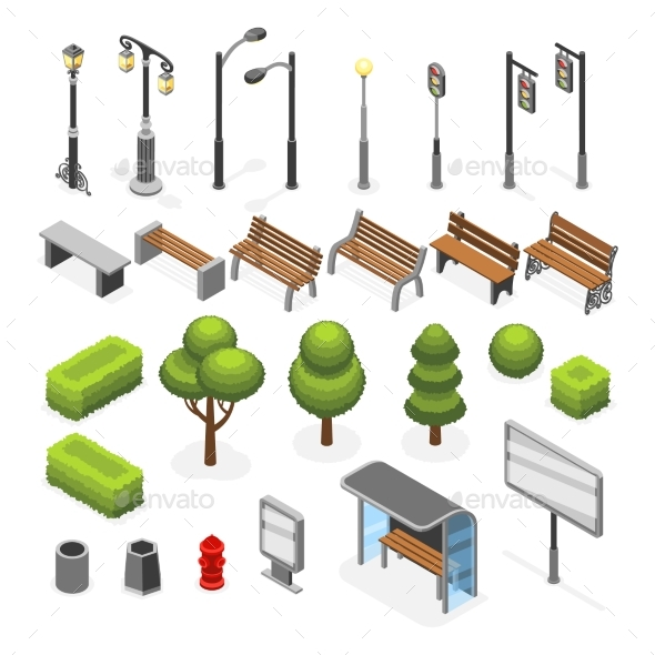 Isometric City Street Outdoor Objects Vector Set - Objects Vectors