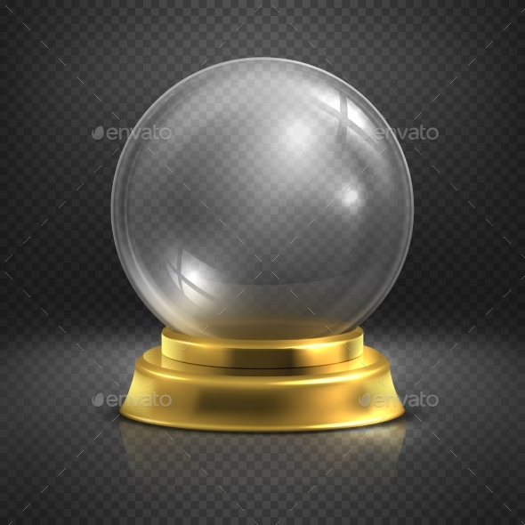 Boule, Glass Empty Magic Ball, Snow Globe Vector - Objects Vectors