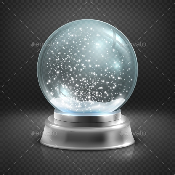 Christmas Snow Globe Isolated On Transparent - Objects Vectors