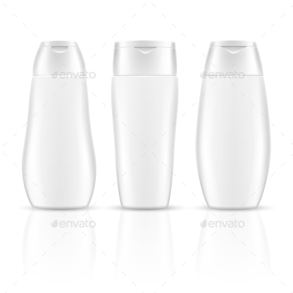 White Blank Shampoo Bottles Cosmetic Container - Objects Vectors
