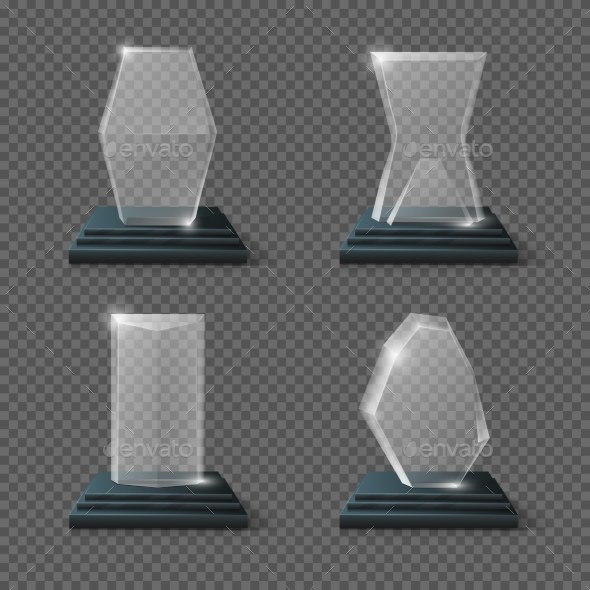 Crystal Glass Trophy Winning Business Awards - Objects Vectors