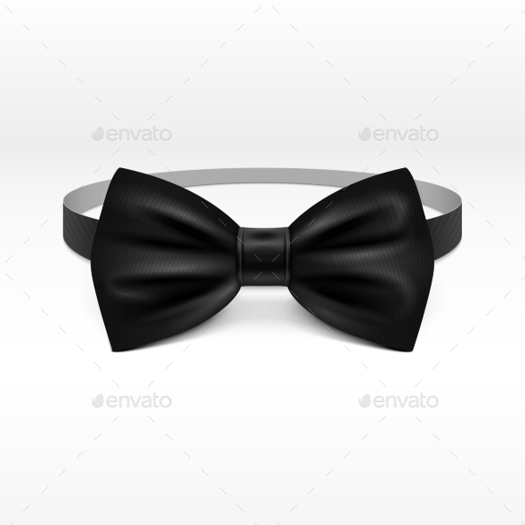 Black Bow Tie Realistic Vector Illustration - Objects Vectors