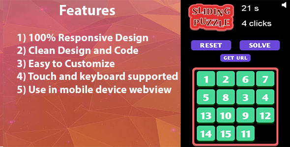 15 sliding puzzle HTML5 game - CodeCanyon Item for Sale