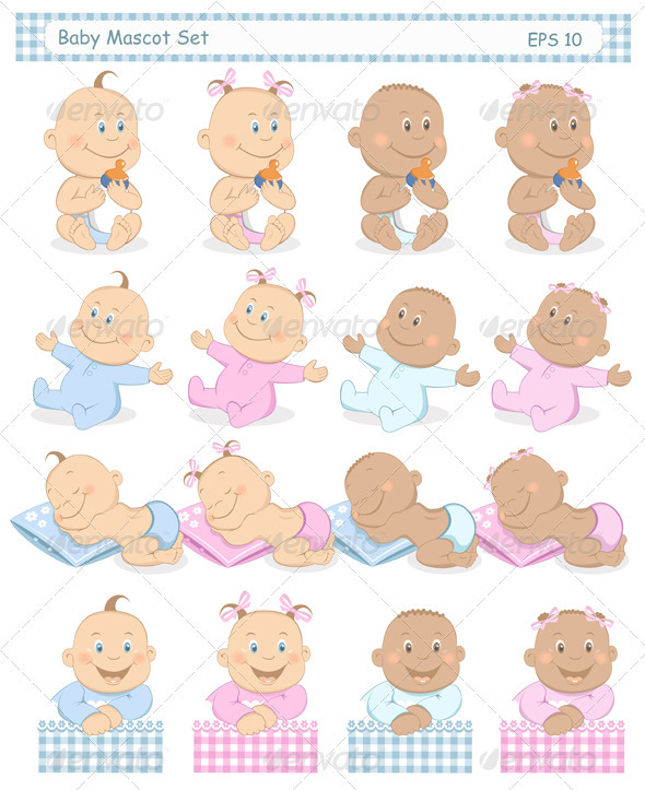 Baby Boy and Girl Mascot Set - People Characters