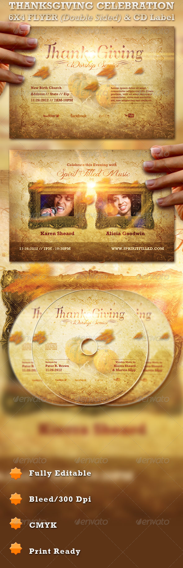 Thanksgiving Celebration Flyer and CD Label  - Church Flyers