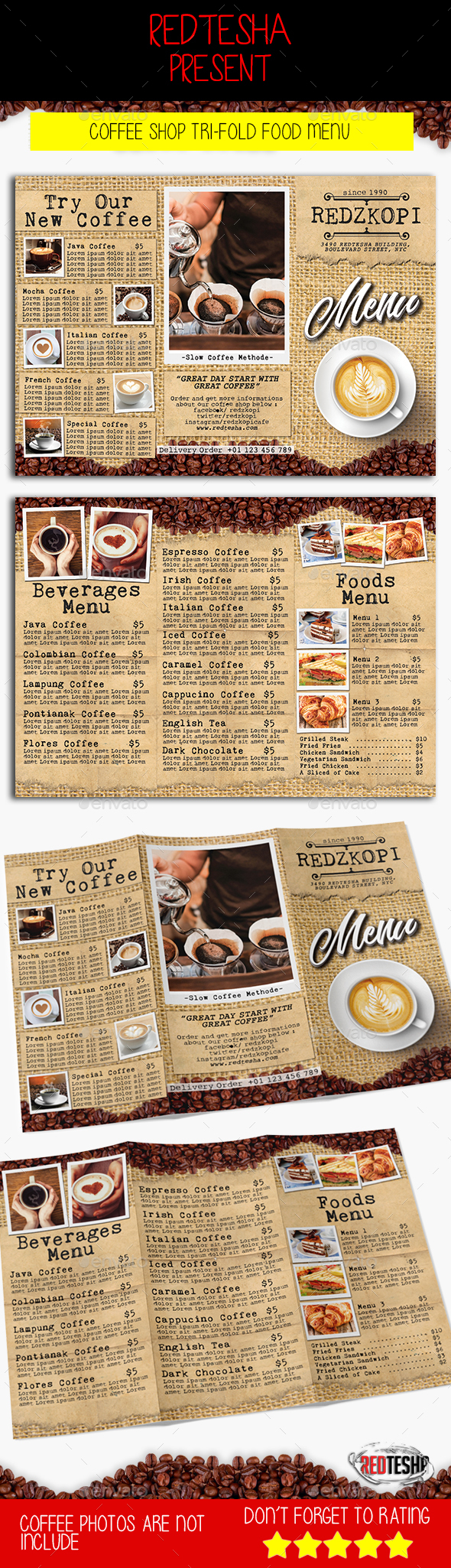 Coffee Shop Tri-fold Menu - Food Menus Print Templates