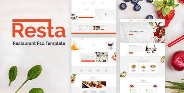 Resta - Restaurant PSD Template - Restaurants & Cafes Entertainment